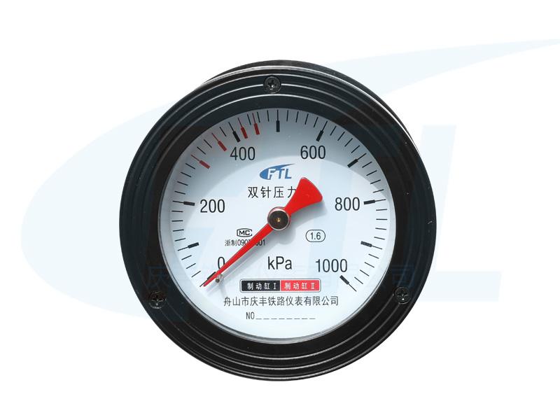 YS-100Z双针压力表-1000KPa